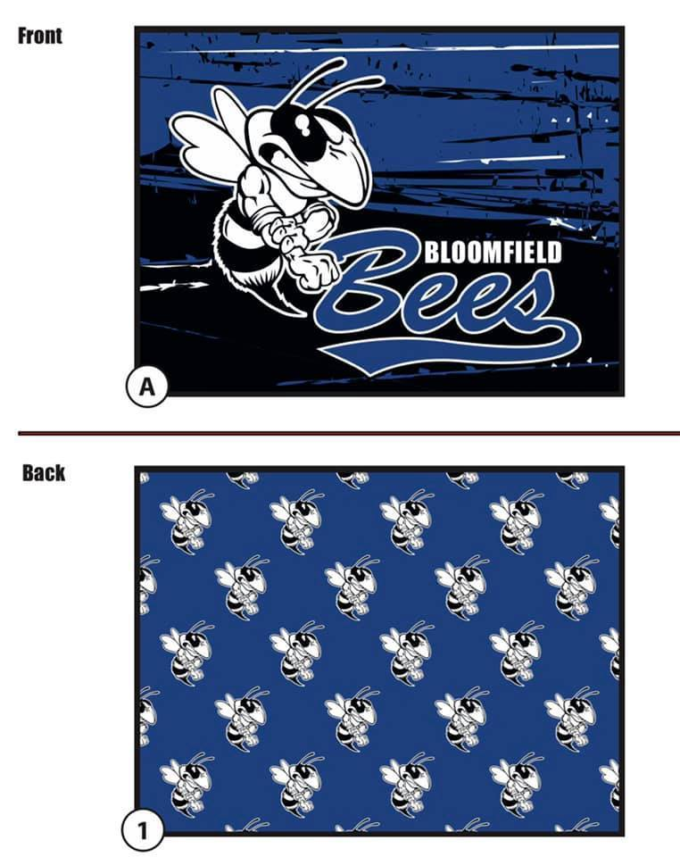Front view of the blanket has the mascot (a bee) and Bloomfield Bees in the colors white, black and blue. The back side of the blanket shows a pattern with multiple mascots with a blue background.