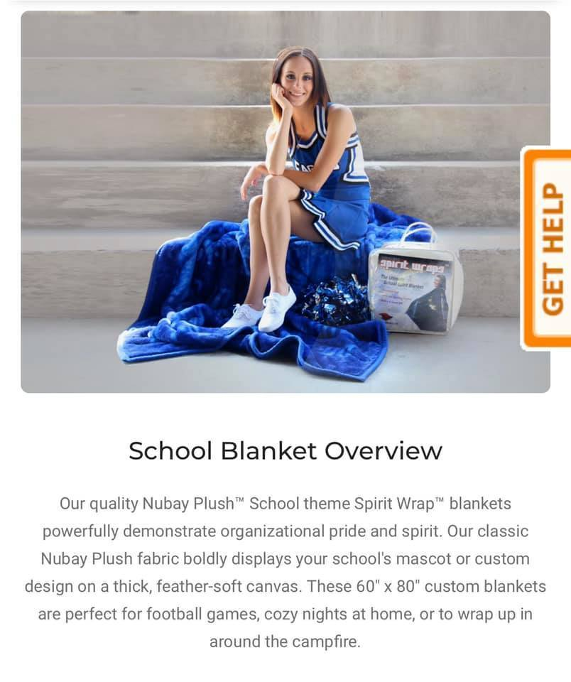Description of the blanket stating it is a plush fabric.