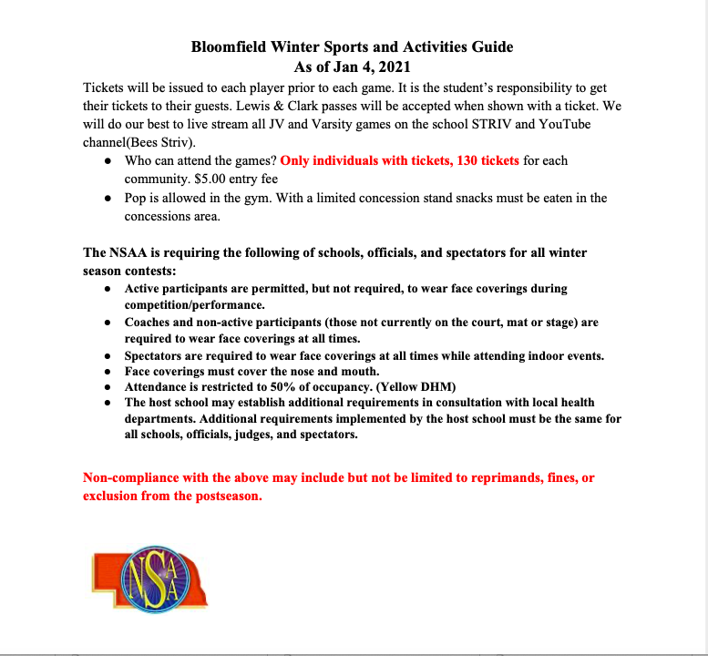 Bloomfield Winter Sports/Activities Guidelines